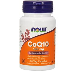 NOW Foods • CoQ10 100 mg with Hawthorn Berry • 30 Veg Caps.