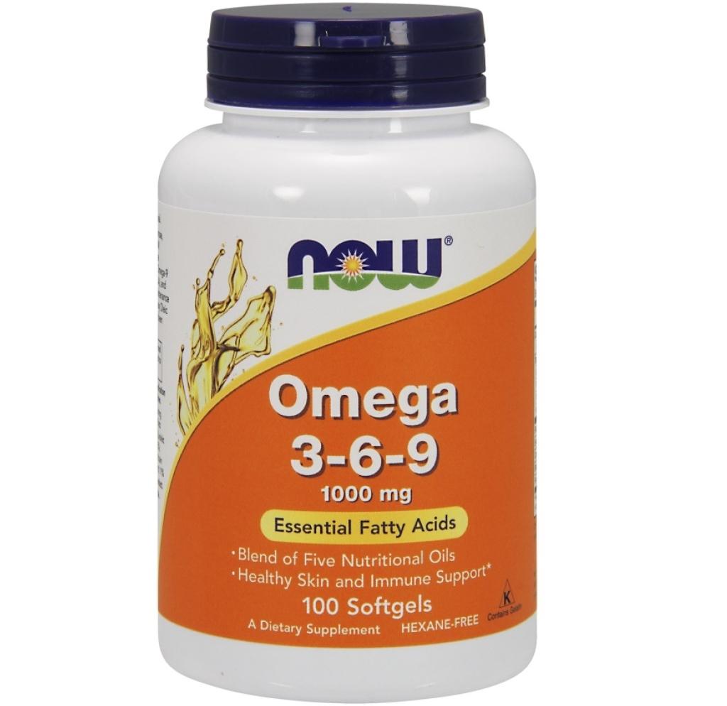NOW Foods • Omega 3-6-9 1000 mg • 100 Gel Caps.